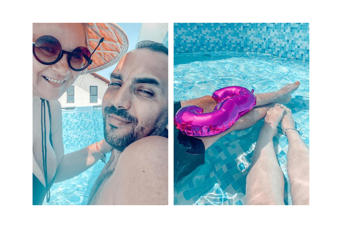 eu și flavius în piscină la prima umplere